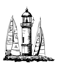 drawing of a lighthouse on an island surrounded by moored yachts during a regatta, sketch, hand-drawn graphic vector illustration