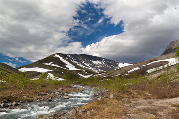 mountain stream in the Khibiny mountains in the north of Russia