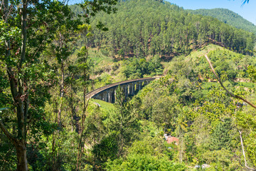 The famous Nine Arches Bridge in the Uva province, located between Demodara and Ella in the highlands of Sri Lanka. The bridge was build in 1921, only from bricks, rocks and cement