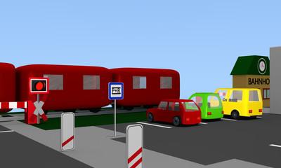 Parkplatz mit bunten Autos, parken- und reisen Schild. an einer Bahnschiene mit Zug und Andreaskreuz. 3d render