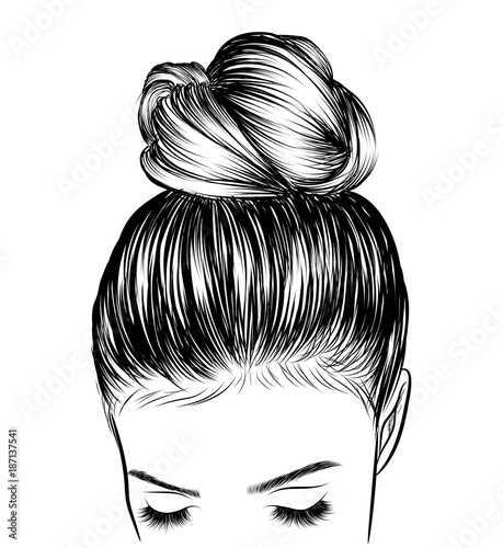 """Wedding Hairstyles Drawing: """"Hand-drawn Beauty Woman With Luxurious Cute Bun Hairstyle"""