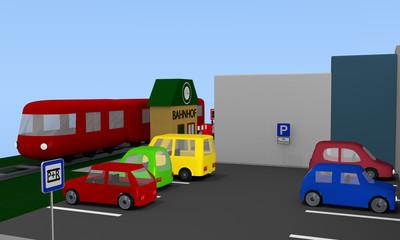 Parkplatz mit bunten Autos und parkplatz Schild an einem Bahnhof.