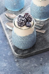 Blue Spirulina Vegan Chia Puddings with Whipped Coconut Cream and Chilled Berries