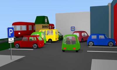 Parkplatz mit bunten Autos und Parkplatzschildern. Im Hintergrund ein Bahnhof mit Zug. 3d render