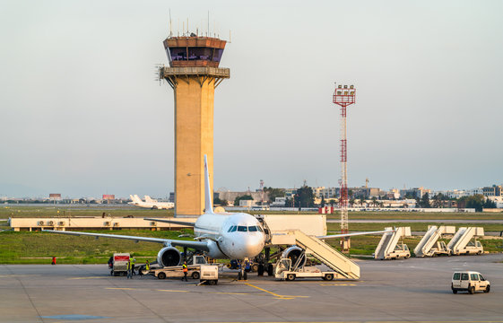 Airplane at Carthage International Airport near Tunis, Tunisia