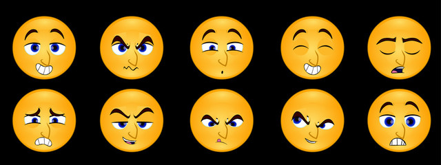 Cartoon Expressions Emoticons, Angry Expressions, Love Expressions, Happy Expressions,