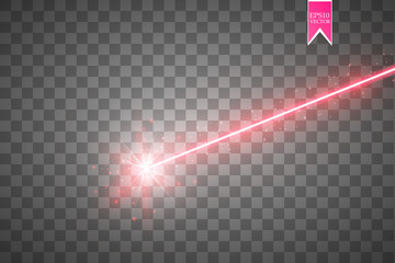 Abstract red laser beam. Isolated on transparent black background. Vector illustration,