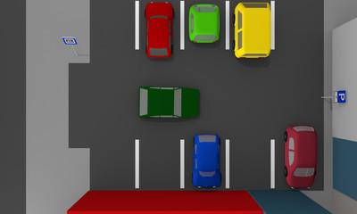 Parkplatz mit bunten Autos und Parkplatzschildern. Ansicht von oben. 3d render