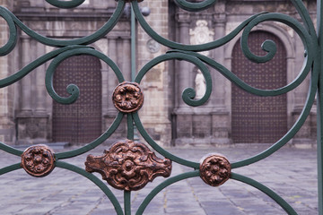 textures, metal and wood, baroque architecture, Puebla, Mexico
