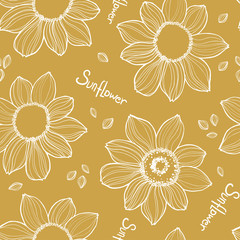 Seamless sunflower texture. White vector hand drawn sunflowers pattern on yellow background. Great for label, poster, web, packing