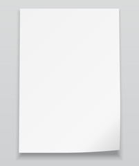 White sheet of paper. Realistic vector background.