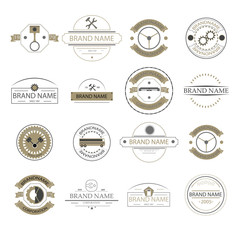Retro vintage logo,business signs. Labels mechanism, badges and objects. Cars and truck. Vector. Eps 10.
