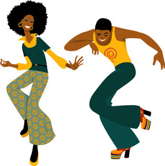 Wall Mural - Young couple dressed in 1970s fashion dancing disco, EPS 8 vector illustration