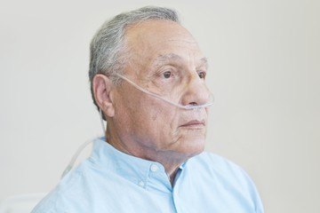 Male patient with nasal cannula