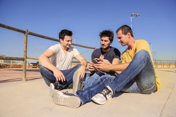 Friends sitting outdoors