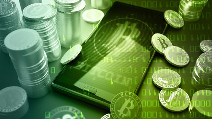 Artwork of Bitcoins and Phone