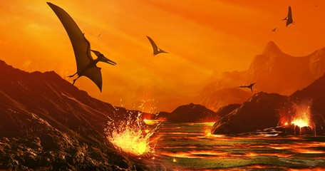 Artwork of Dinosaur Extinction Event