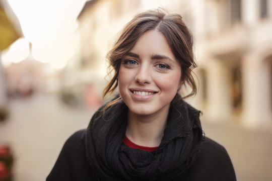Smiling girl with blue eyes