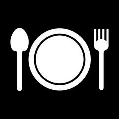 Vector restaurant symbol. Isolated on black.