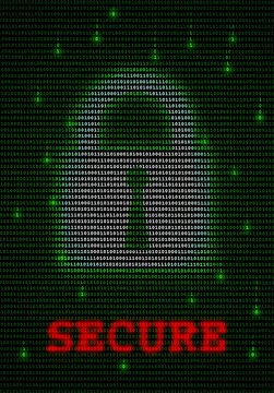 Illustration of data encryption lock