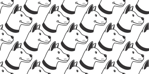 Dog Seamless Pattern vector bulldog hound Head smile wallpaper tile background isolated
