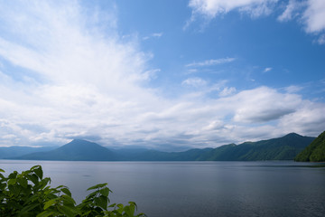 Panoramic views on beautiful clear mountain lakes of Shikotsu-Toya National Park, Hokkaido, Japan