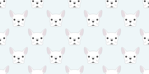 dog Seamless french bulldog vector Pattern pug face head isolated wallpaper background white