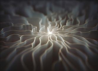 Wavy white illuminated lines, illustration