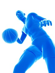 Three dimensional illustration of a basketball player
