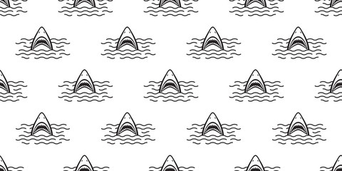 Shark Seamless Pattern vector fin dolphin fish ocean isolated background wallpaper white