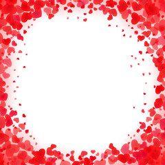 Vivid heart framing. Bright edging background for St. Valentines day, mother day, 8 of march and other holidays and events