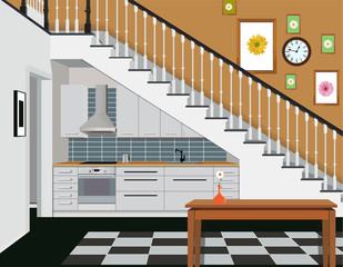Interior of the kitchen under the stairs with furniture. Design of modern kitchen. Symbol of furniture, kitchen illustration.