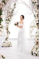 Beautiful bride on wedding day, indoors