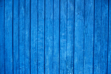 Blue wood texture background. Vertical wood planks