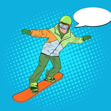 Pop Art Man in Sportswear with Snowboard. Snowboarder Doing Trick. Vector illustration