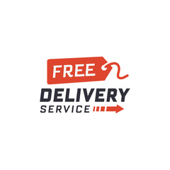 Free delivery service. Delivery label for online shopping. Worldwide shipping. Vector illustration