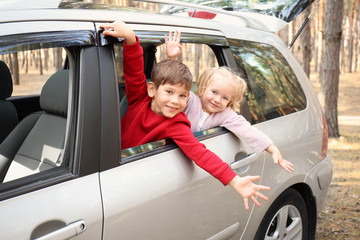 Adorable little children leaning out of car window