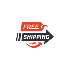 Free shipping. Delivery label for online shopping. Worldwide shipping. Vector illustration