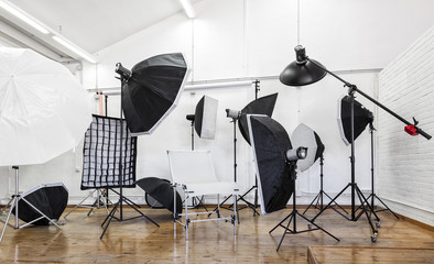 Lighting equipment in a professional photo studio