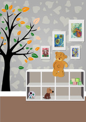 The interior of the children's room with furniture, toys, children's drawings. Illustration of a children's room.