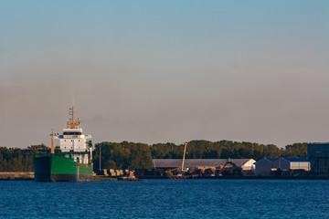 Green cargo ship in port