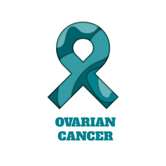 Ovarian cancer awareness poster. Teal ribbon made in 3D paper cut and craft style on white background. Medical concept. Vector illustration.