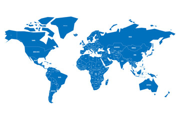 Wall Mural - Simplified map of World in blue. Schematic vector illustration