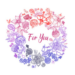 Hand drawn sketch style colorful flowers. Vector illustration isolated on white background.