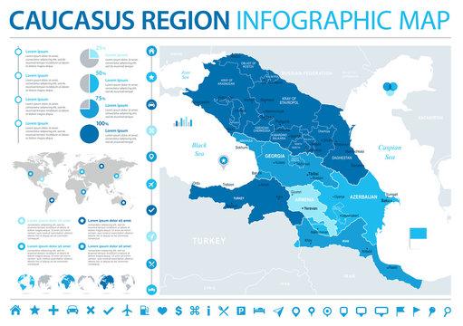 Caucasus Region Map - Info Graphic Vector Illustration