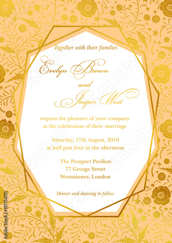 Wedding invitation poppy floral invite card design with geometrical wedding invitation poppy floral invite card design with geometrical art lines gold foil border stopboris Images