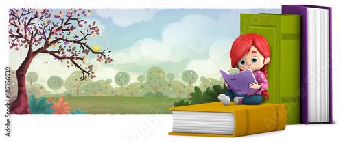 """""""niña Leyendo Un Libro En El Campo"""" Fotos De Archivo E"""