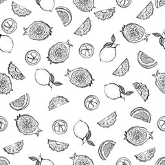 Seamless pattern of sketch style tropical fruits. Vector illustration.