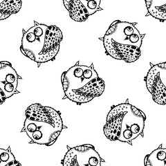 Seamless vector pattern of hand drawn sketch style owl.