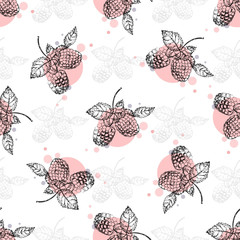 Seamless vector pattern of hand drawn sketch style raspberry.
